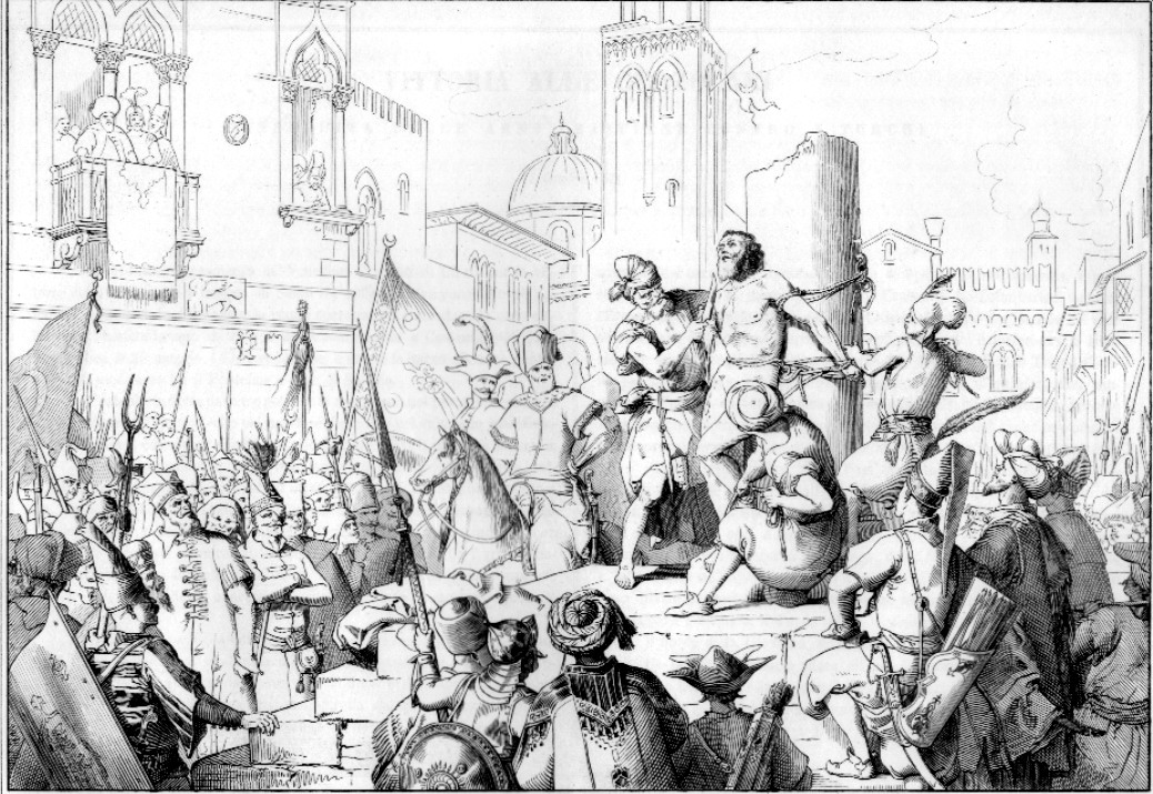 An etching of the death of general Bragadino