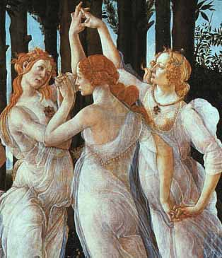 Botticelli's depiction of the three Graces