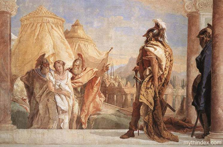 A depiction of Euribates leading Briseis to Agamemnon.