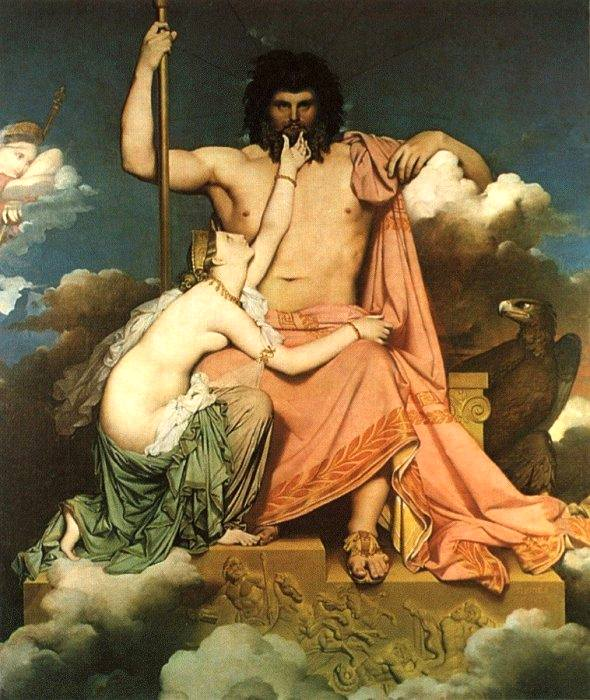 A Pre-Raphialite painting of Thetis supplicating Zeus